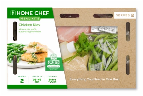Home Chef Meal Kit Chicken Kiev With Parsley-Garlic Butter And Green Beans Perspective: front