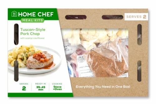 Home Chef Meal Kit Tuscan Pork Chop With Scampi Cauliflower Perspective: front