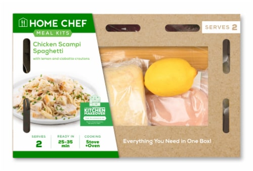 Home Chef Meal Kit Chicken Scampi Spaghetti With Lemon And Ciabatta Croutons Perspective: front
