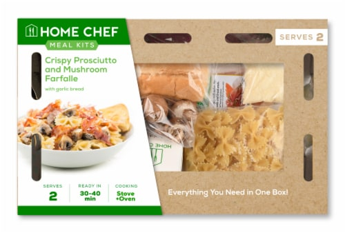 Home Chef Meal Kit Crispy Prosciutto and Mushroom Farfalle Perspective: front