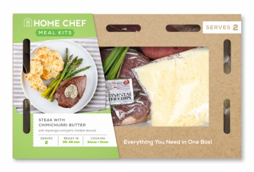 Home Chef Meal Kit Steak With Chimichurri Butter With Asparagus And Garlic Cheddar Biscuits Perspective: front