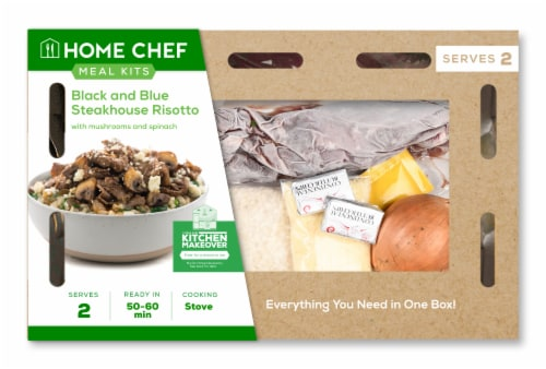Home Chef Meal Kit Black & Blue Steakhouse Risotto With Mushrooms And Spinach Perspective: front