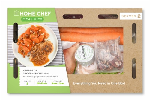 Home Chef Meal Kit Herbes De Provence Chicken With Brown Sugar-Glazed Carrots And Pecans Perspective: front