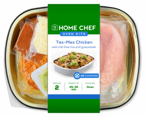 Home Chef Oven Kit Tex-Mex Chicken with Chili Lime Rice and Guacamole Perspective: front