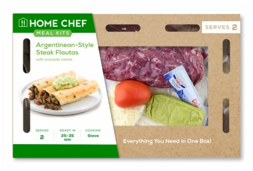 Home Chef Meal Kit Argentinean Steak Flautas With Avocado Crema Perspective: front