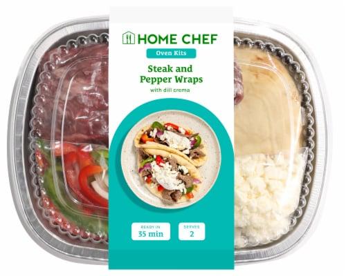 Home Chef Oven Kit Mediterranean Steak Strip Wraps with Tzatziki Perspective: front