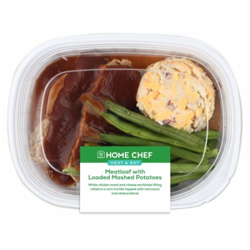 Home Chef Heat & Eat BBQ Meatloaf with Loaded Mashed Potatoes Perspective: front