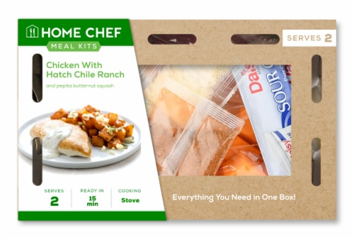 Home Chef Meal Kit Chicken with Hatch Chile Ranch and Pepita Butternut Squash Perspective: front
