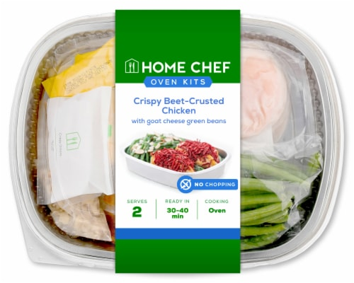 Home Chef Oven Kit Crispy Beet-Crusted Chicken With Goat Cheese Green Beans Perspective: front