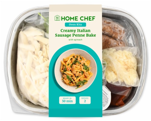 Home Chef Oven Kit Creamy Tomato And Italian Sausage Penne Bake With Spinach Perspective: front
