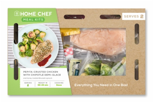 Home Chef Meal Kit Pepita-Crusted Chicken With Chipotle Demi-Glace & Honey Roasted Brussels Sprouts Perspective: front