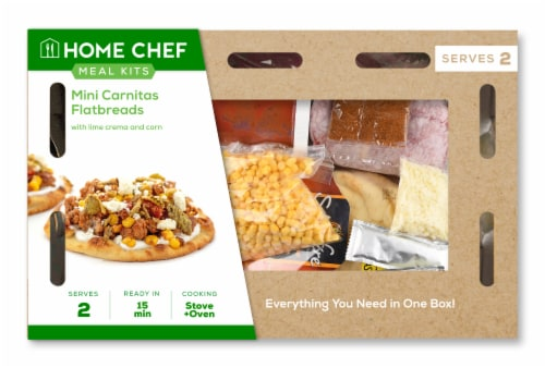 Home Chef Meal Kit Mini Carnitas Flatbreads with Lime Crema and Corn Perspective: front