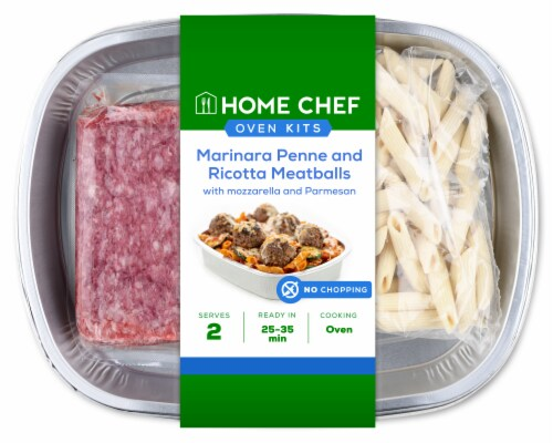 Home Chef Oven Kit Marinara Penne And Ricotta Meatballs Perspective: front