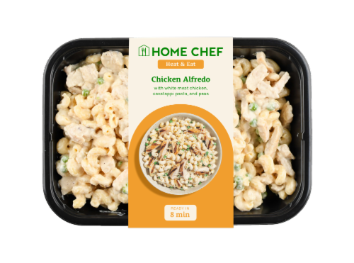 Home Chef Heat and Eat Chicken Alfredo With Cavatappi Pasta And Peas Perspective: front