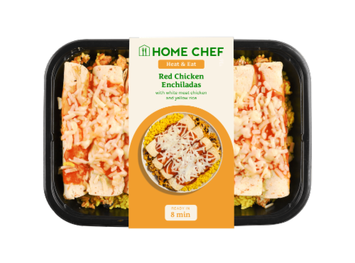 Home Chef Heat and Eat Red Chicken Enchiladas With Yellow Rice Perspective: front