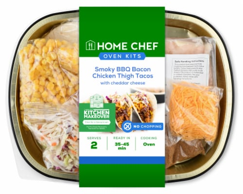 Home Chef Oven Kit Smoky BBQ Bacon Chicken Thigh Tacos With Cheddar Cheese Perspective: front