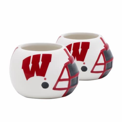 Wisconsin Badgers Team Pride Mini Ceramic Helmet Planters Perspective: front