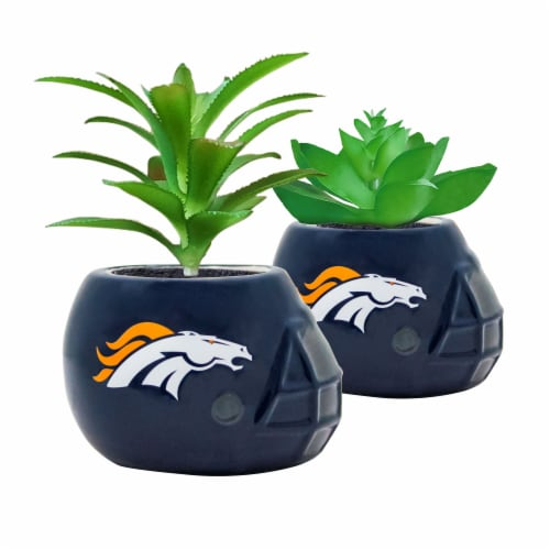 NFL Denver Broncos Team Pride Mini Faux Succulents in Ceramic Helmet Planters Perspective: front