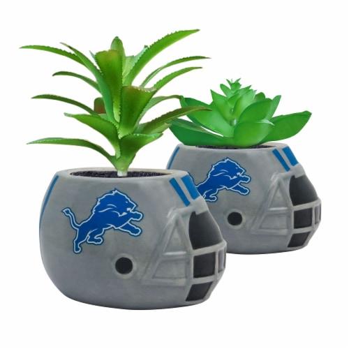NFL Detroit Lions Team Pride Mini Faux Succulents in Ceramic Helmet Planters Perspective: front
