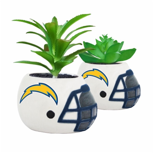 NFL Los Angeles Chargers Team Pride Mini Faux Succulents in Ceramic Helmet Planters Perspective: front
