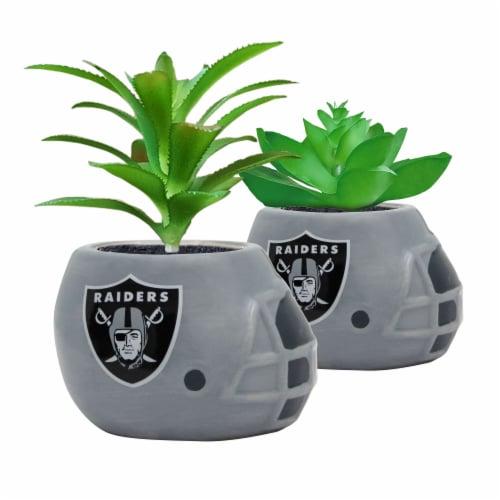 NFL Las Vegas Raiders Team Pride Mini Faux Succulents in Ceramic Helmet Planters Perspective: front