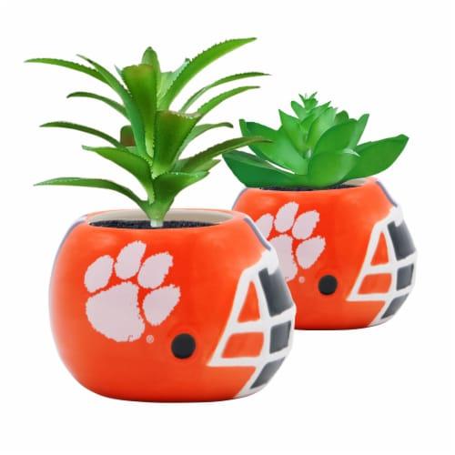 Clemson Tigers Team Pride Mini Faux Succulents in Ceramic Helmet Planters Perspective: front