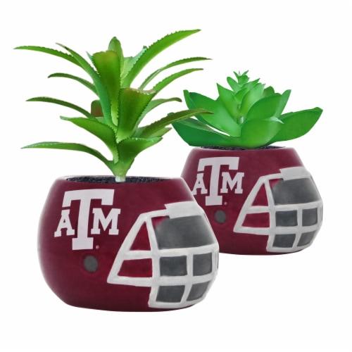 Texas A&M Aggies Team Pride Mini Faux Succulents in Ceramic Helmet Planters Perspective: front
