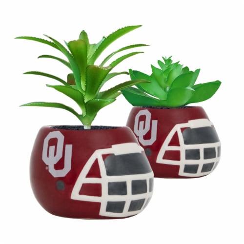 Oklahoma Sooners Team Pride Mini Faux Succulents in Ceramic Helmet Planters Perspective: front