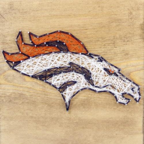 Denver Broncos Team Pride String Art Craft Kit Perspective: front