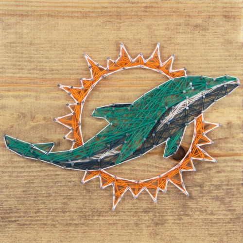 Miami Dolphins Team Pride String Art Craft Kit Perspective: front