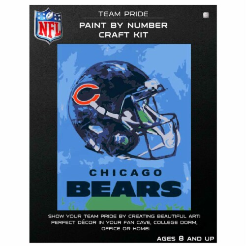 NFL Chicago Bears Team Pride Paint by Number Craft Kit Perspective: front