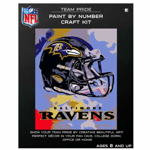 NFL Baltimore Ravens Team Pride Paint by Number Craft Kit Perspective: front