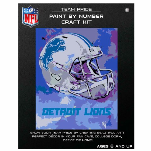 NFL Detroit Lions Team Pride Paint by Number Craft Kit Perspective: front