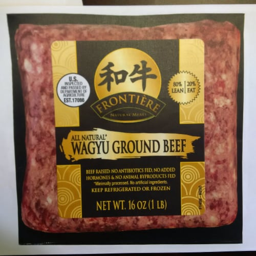 Frontiere Natural Meats Wagyu 80/20 Ground Beef Perspective: front