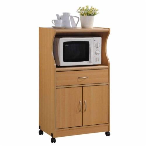 Hodedah Hik77 Beech Microwave Cart Perspective: front