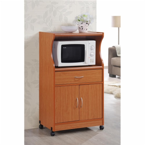 Hodedah Hik77 Cherry Microwave Cart Perspective: front