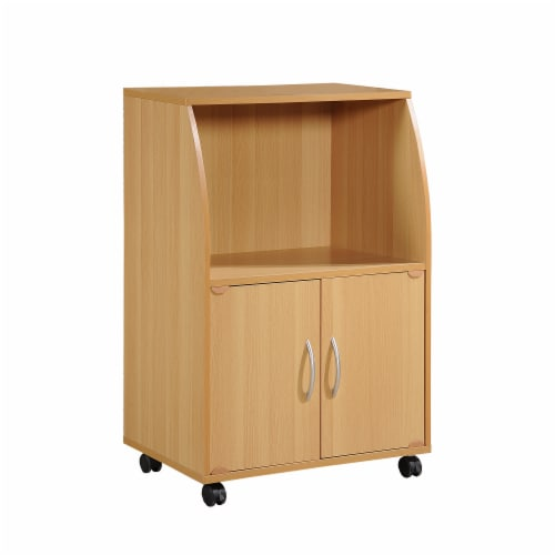 Hodedah HIK74 BEECH Microwave Cart-Beech Perspective: front