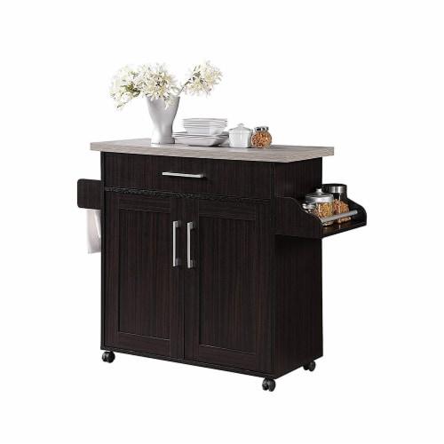Hodedah HIK78 CHOC-GREY Kitchen Island Spice Rack & Towel Rack Cart-Chocolate-Grey Perspective: front