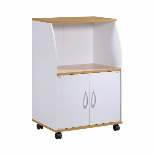 Hodedah HIK74 WHITE Microwave Cart-White Perspective: front