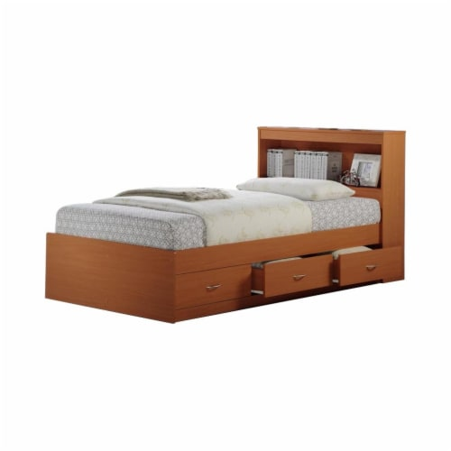 Twin Size Captain Bed with 3 Drawers and Headboard in Cherry - Hodedah Perspective: front