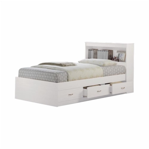 Twin Size Captain Bed with 3 Drawers and Headboard in White - Hodedah Perspective: front
