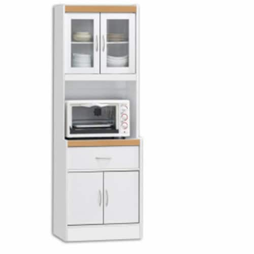 Hodedah HIK96 WHITE Kitchen Cabinet Perspective: front