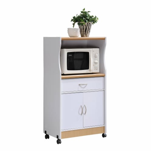 Hodedah HIK72 WHITE Microwave Cart - White Perspective: front