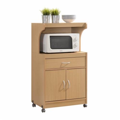 Hodedah HIK72 BEECH Microwave Cart - Beech Perspective: front