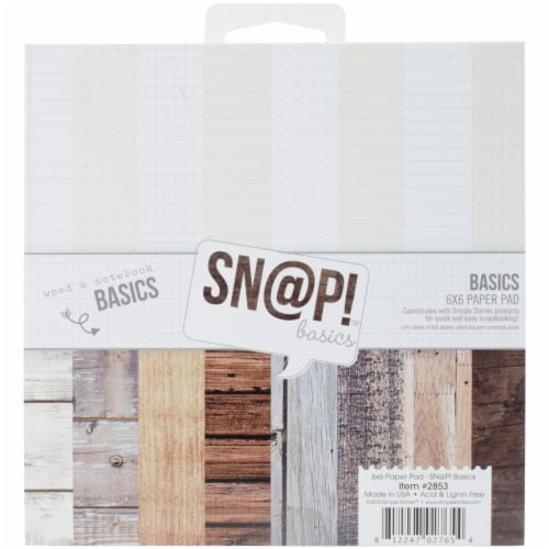 Simple Stories Double-Sided Paper Pad 6 X6  24/Pkg-Sn@p! Color Vibe Basics Wood & Notebook Perspective: front