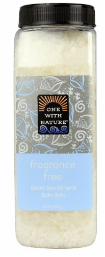 One With Nature  Dead Sea Mineral Bath Salts Fragrance Free Perspective: front