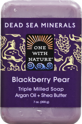 One With Nature Dead Sea Minerals Blackberry Pear Soap Perspective: front