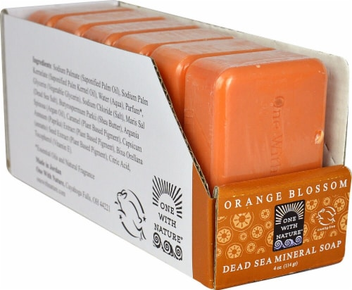 One With Nature Dead Sea Mineral Bar Soap Orange Blossom Perspective: front