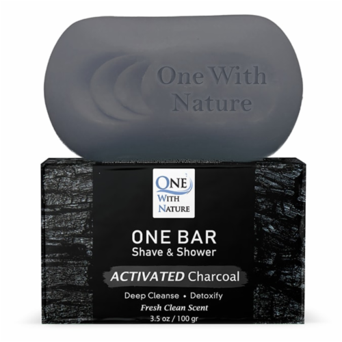 One With Nature One Activated Charcoal Fresh Clean Scent Shave & Shower Grooming Bar Perspective: front