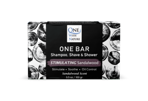 One With Nature One Stimulating Sandalwood Scent Shave & Shower Grooming Bar Perspective: front